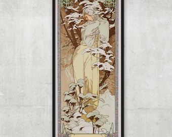 The Seasons: Winter - Art Nouveau poster -  by Alphonse Mucha - Art nouveau print, P018