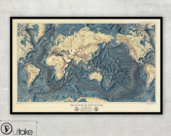 World map wall art - The Floor of The Oceans (1976) - large canvas print, 100