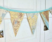 Map Banner Bunting, travel theme wedding, travel bridal shower, travel baby shower , travelling from miss to mrs, nursery decor travel party