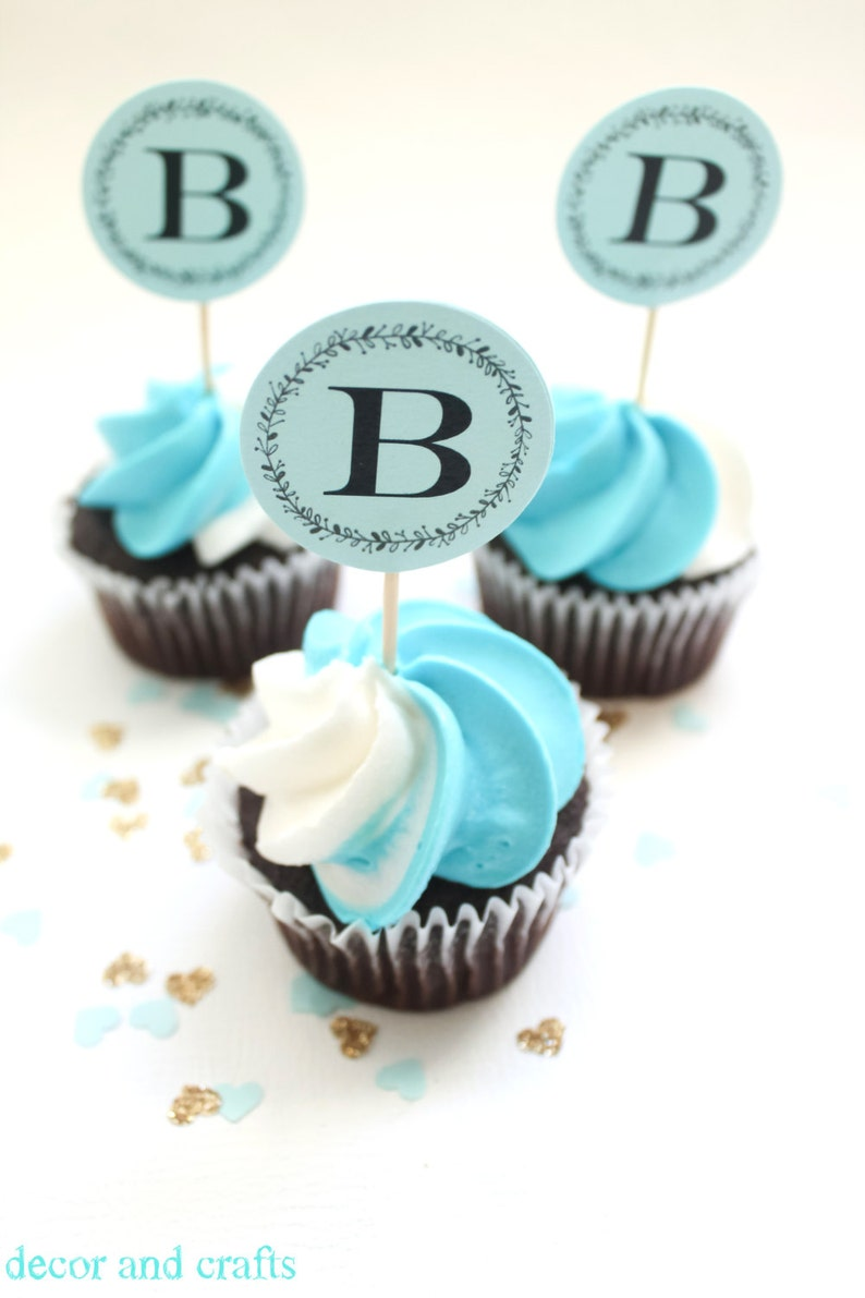 Boy Baby Shower Cupcake Topper  Blue Baby Shower for Baby Boy image 0