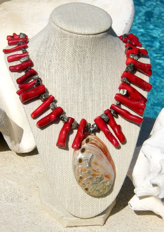 Red Coral Necklace with Red Abalone Seashell - Beach, Island, Seaside Wedding, Daytime or Evening