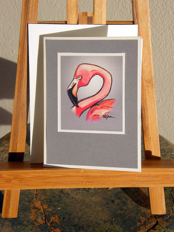 Pink Flamingo Notecard -  on card stock with envelope