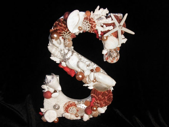 Letter with Seashells, Red Themed  -  Coastal Beach Home Decor