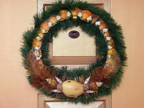Thanksgiving, Holiday Wreath with Seashells, ribbons, and glittery branches.