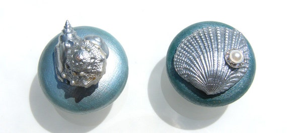 Cabinet or Dresser Knobs in Lagoon Blue Metallic and silver seashells and rhinestones.