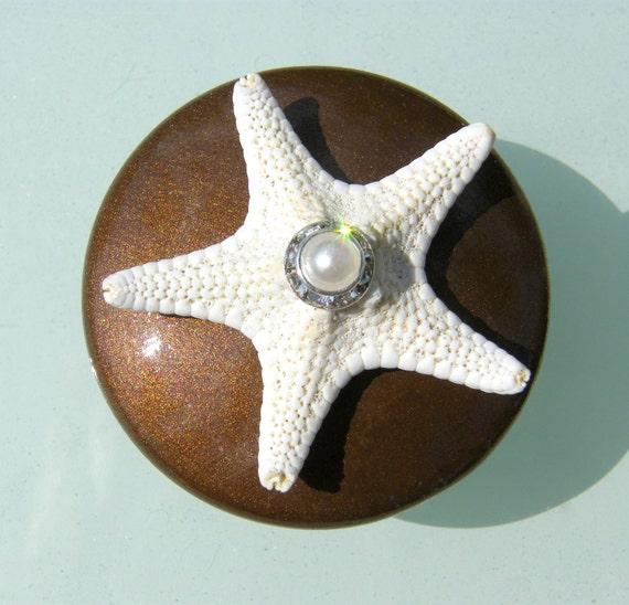 Metallic Brown Starfish Knobs with Swarovski Crystal and pearl rhinestone