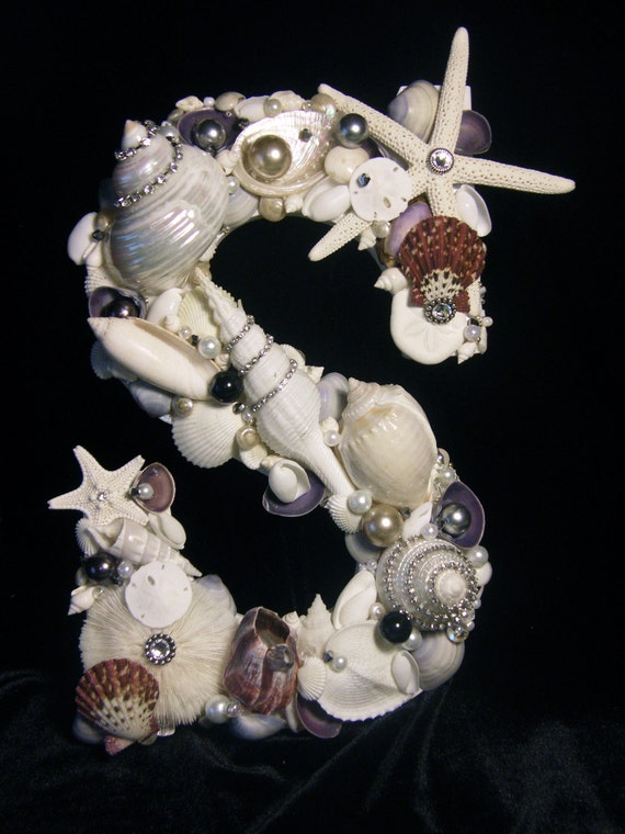 Letter embellished with Seashells and Jewels - Violet themed - Home Decor, Shell Art