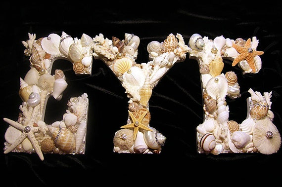 Seashell Letters - Special Order Your Name, Business Name, Initials. Price per each letter. Weddings, Patio, Bathroom, Nautical Decor.