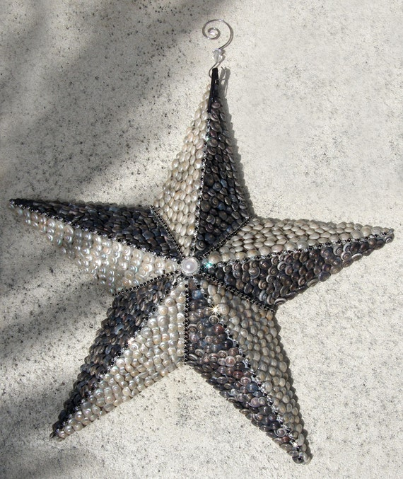 Large Seashell Star with Crystals
