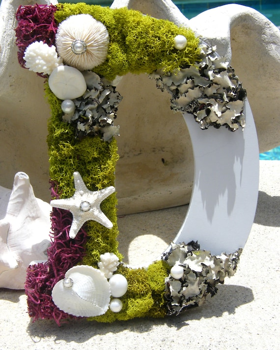 Moss letter with seashells   - for weddings, special occasions and your coastal, nautical home decor.