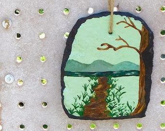 Hiking Trail Handpainted Slate, Outdoor Painting Recycled Slate, Nature Wall Hanging, Susquehanna River Walk Painting, Nature Home Decor