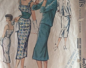 245c9e85297 Very Rare 50s Vintage McCalls Pattern 4407 Bombshell Dress with Cummerbund  and Overblouse Vintage Size 14 ©1957