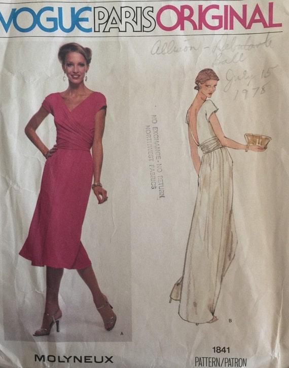 Vogue Paris Original Vintage Sewing Pattern 1841 Molyneux Etsy