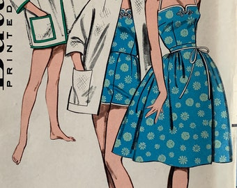 Vintage Sewing Pattern Butterick 9411 Summer Wardrobe—One-piece Playsuit, Wrap-Around Skirt and Beach Jacket Size 14 B34 W26 H36 ©1960 FF