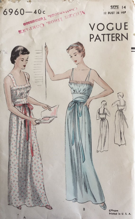 Vintage Sewing Pattern Vogue Pattern 6960 Nightgown Negligee | Etsy