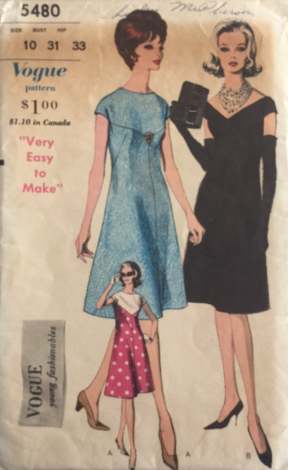 Vogue Young Fashionables Vintage Sewing Pattern 5480 60s | Etsy