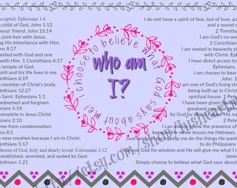 Printable Identity in Christ,self esteem scriptures,wall art scriptures, Downloadable card, wall art, encouragement