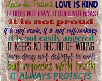 Printable Card for Love, 1 Corinthians 13 Scripture, Christian Wall Art, Printable I Corintians 13 digital download, Love Bible Verse Card