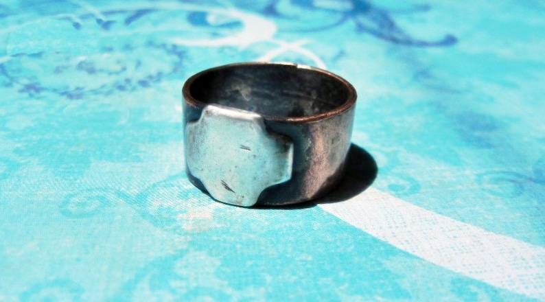 Rustic Thumb Ring with Distressed  Fine Silver Cross Copper band 9mm Stylized Flattened Cross Subtle Statement