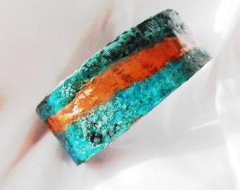 Copper Cuff, Copper Patina, Aqua, Turquoise. Unique colorful copper cuff. One of a kind copper bracelet. Men/Women 1 in. cuff. Beautiful!