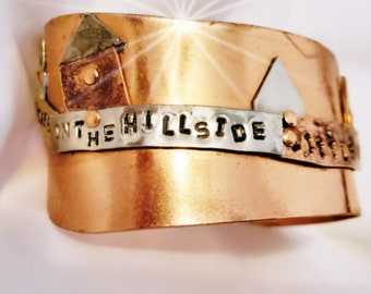 Art Statement Bright Shiny Copper Cuff, Bracelet Cold Connected with song lyrics Little Boxes on the Hillside, I Peter 2:9