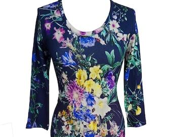 Floral Women Dress, Plus Size Dress, Long Sleeves Dress, Floral Print Jersey, Dress, Winter Dress, Warm Dress, Designers Dress