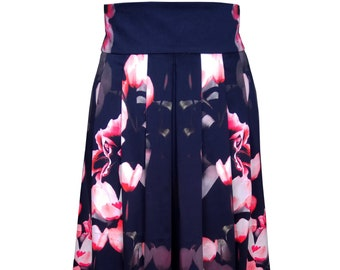 Floral Pleated Cotton Skirt, Plus Size Floral Pleated Skirt, High Waisted Floral Pleated Midi Skirt, 50's Full Skirt