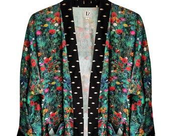 Floral Kimono Cardigan, Plus Size Floral Kimono, Floral Evening Cardigan, Printed Kimono, Printed Kimono, Summer Kimono, Loose Fit Cardigan
