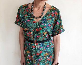 Floral Shift Dress, Floral Oversized Summer Dress, Plus Size Dress, Loose Fit Floral Dress, Floral Day Dress