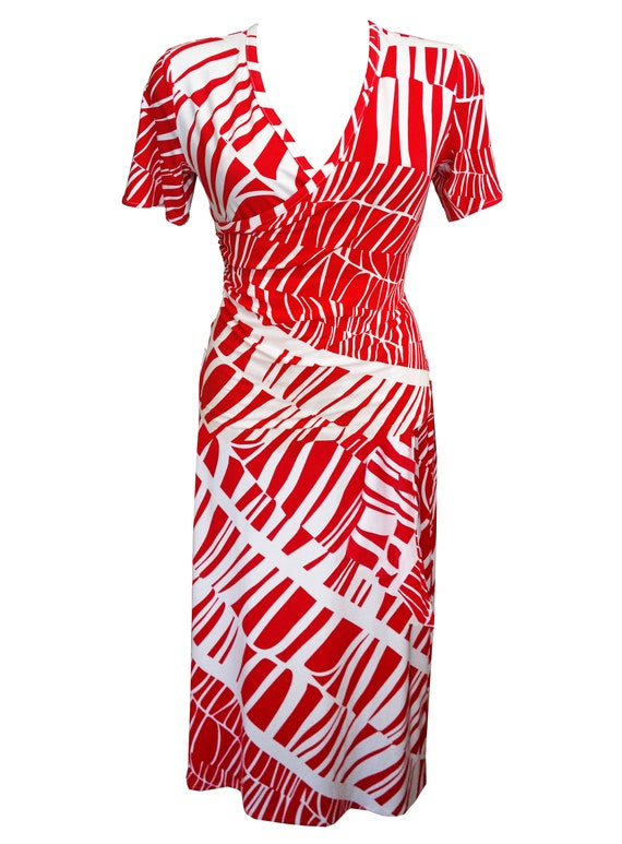 Plus Size Wrap Dress, Summer Dress, Women Cotton Dress, Printed Dress,  Crossover Dress, Dress With Sleeves, Red and White, Designer Dress