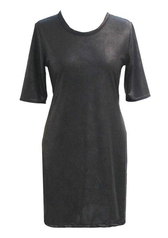 Black Leather Dress, Faux Leather, Plus Size, Little Black Dress, Long  Sleeves Dress, Day Dress, Mod Dress, designers dress