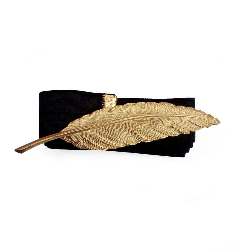 Black and Gold Waist Belt Gold Feather