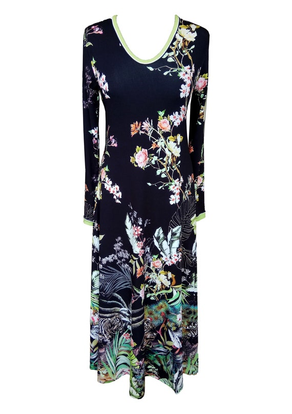 Floral Maxi Dress, Plus Size Dress, Floral Cotton Jersey Dress, Black  Floral Dress, Tropical Print Dress, Dress With Sleeves, Animal Print