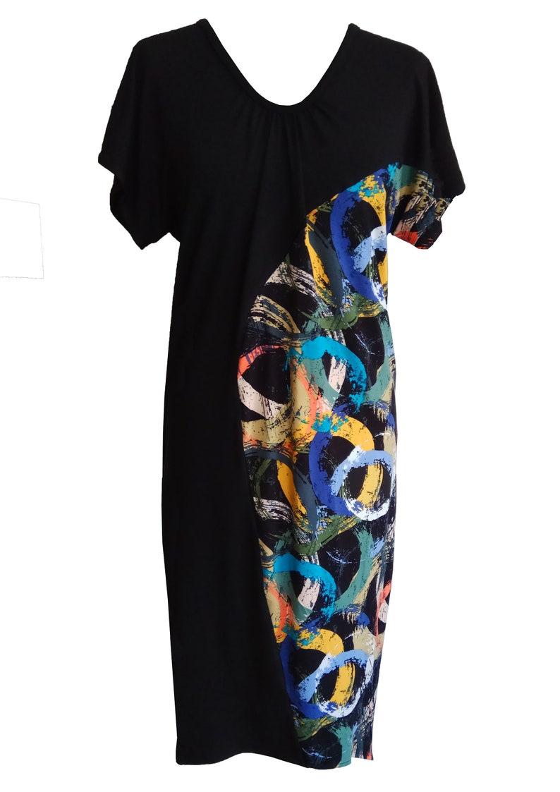 Black Asymmetric Dress, Plus Size Dress, Losse Fit Dress, Summer Dress,  Cotton Jersey Dress, Mix Prints Dress, Urban Day Dress, Balloon