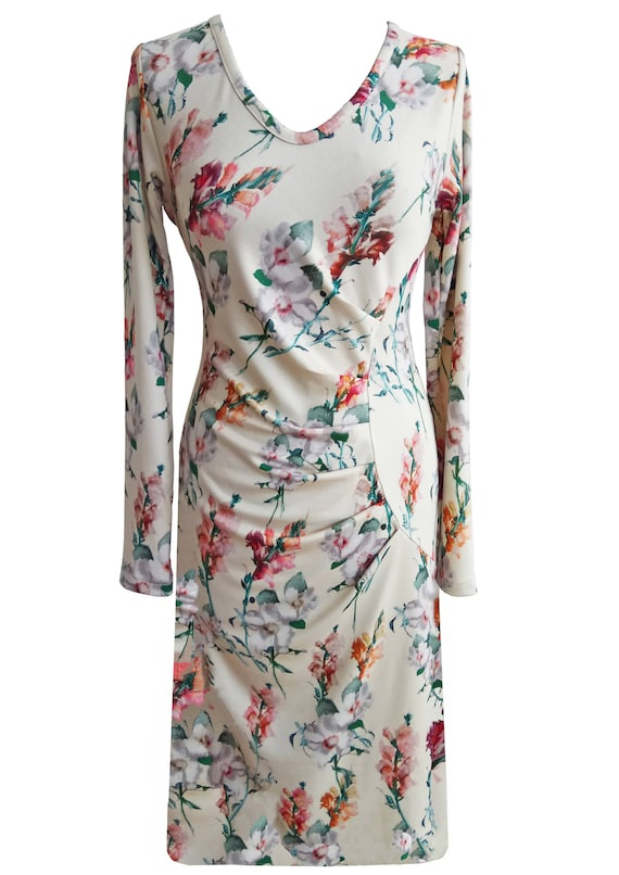 Women Floral Dress, Plus Size Dress, Asymmetrical Dress, Long Sleeves  Dress, Winter Dress, Jersey Dress, Printed Dress, Designers Dress