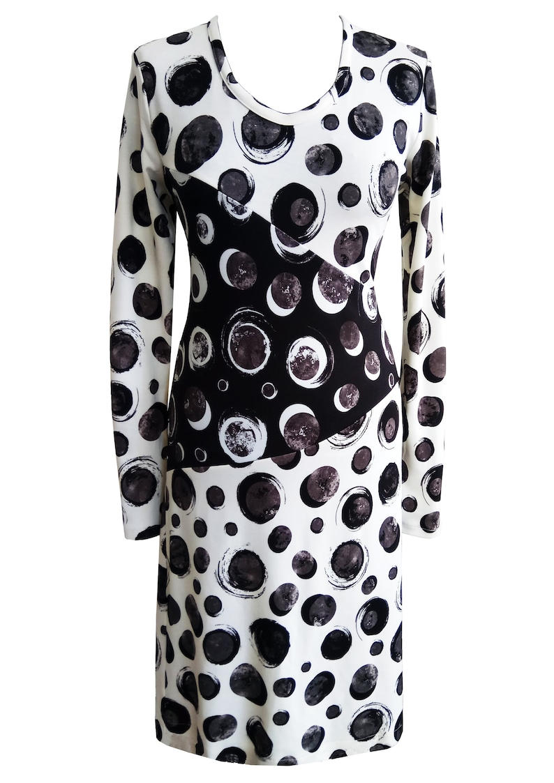 Black and White Polka Dots Dress, Plus Size Dress, Women Dress, Asymmetric  Dress, Long Sleeves Jersey Dress, Winter Dress, Designer Dress