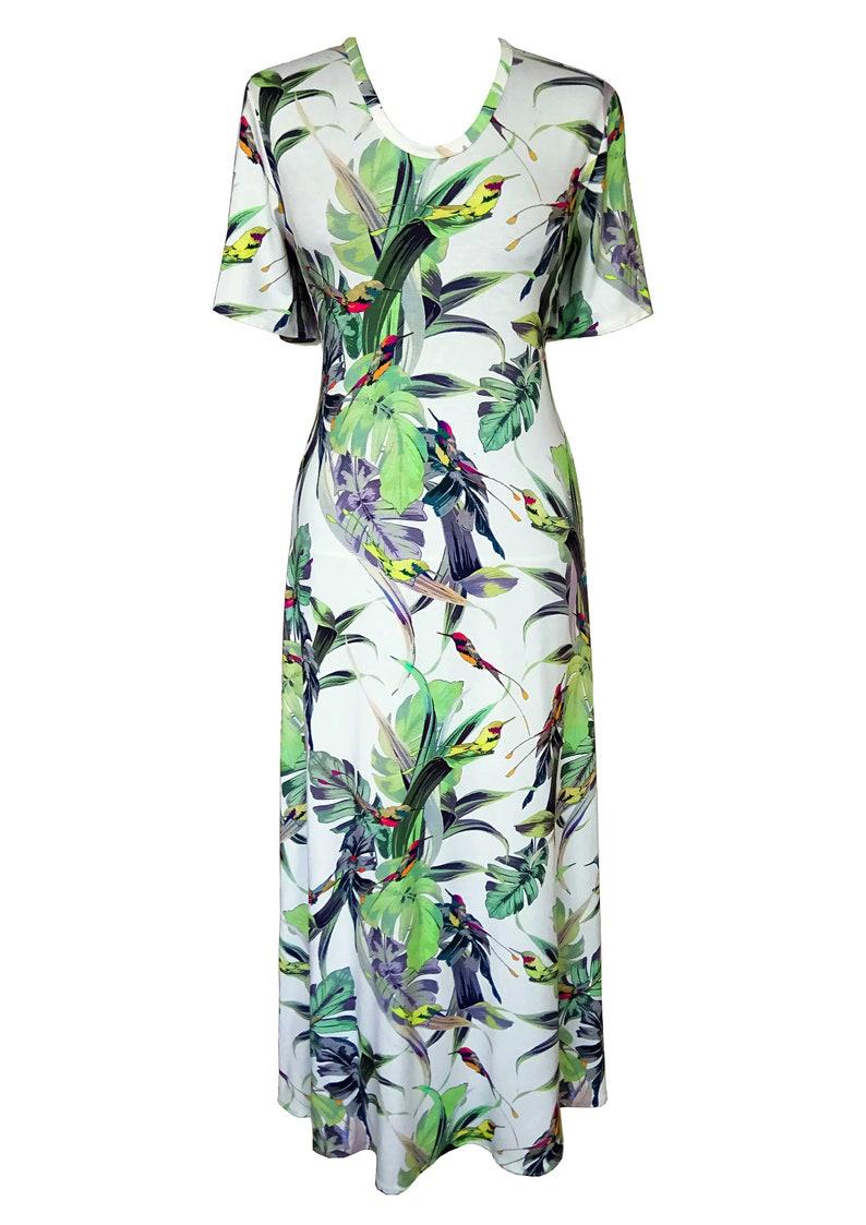 1ce6c60c780b6 Floral Maxi Dress, Plus Size Dress, Birds Dress, Cotton Dress, Summer  Dress, Birds and Flowers, Dress With Sleeves, Flair Dress, Women Dress