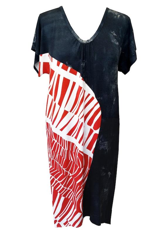 c5db05d7fe6 Denim Print Asymmetric Dress Plus Size Dress Balloon Dress