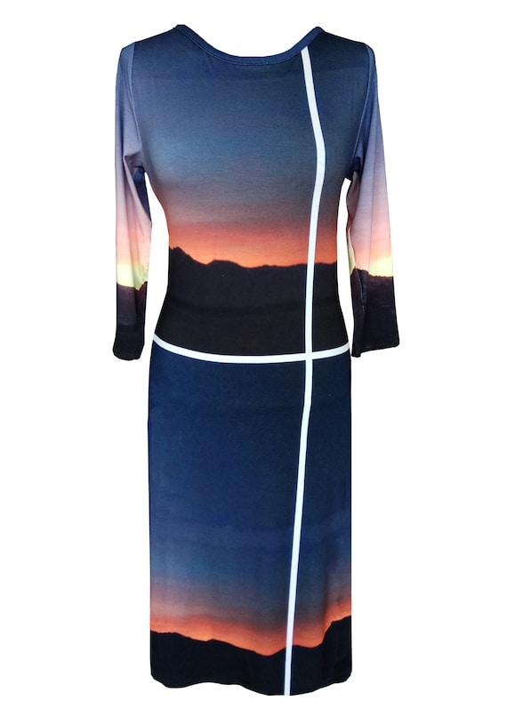 Printed Cotton Dress, Plus Size Dress, Sunset Print Dress, Jersey Dress,  Long Sleeves Dress, Jersey Dress, Dress With Sleeves