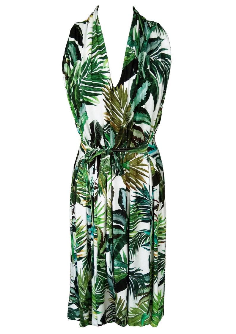 Green Leaves Halter Dress Floral Summer Dress Plus Size | Etsy