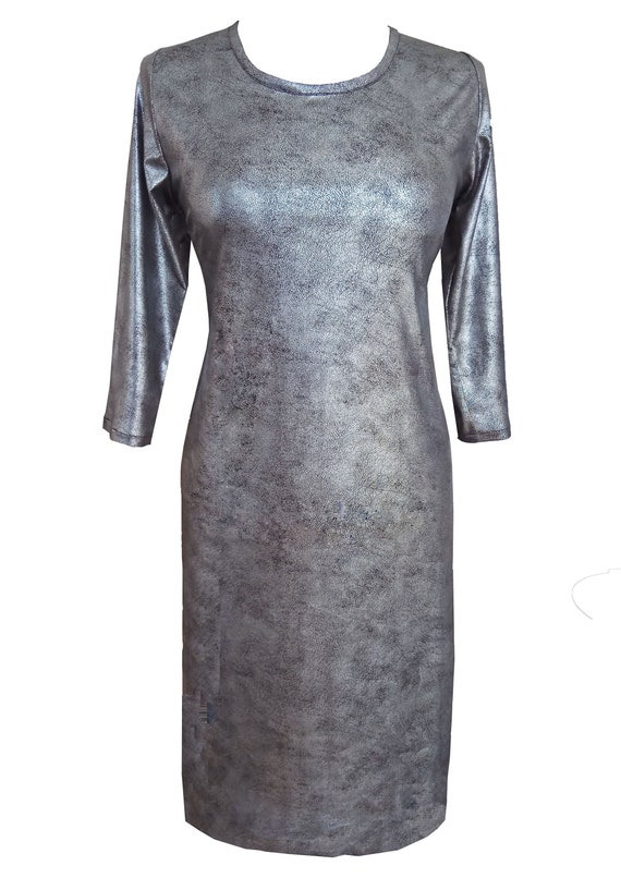 Silver Dress, Plus Size Dress, Silver Leather Dress, Faux Leather, Dress  With Sleeves, Women Day Dress, Mod Dress, Designers Dress
