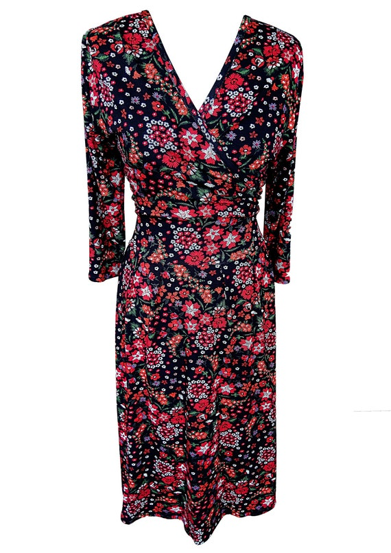 Black and Red Floral Dress, Plus Size Dress, A Line Dress, Wrap Dress,  Cotton Dress, Surplice Dress, Dress with Sleeves, Designer Dress
