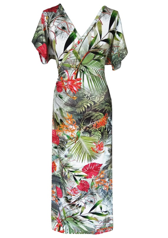 Floral Maxi Dress, Plus Size Dress, Floral Kimono Dress, Cotton Dress,  Summer Dress, Wrap Dress, Dress With Sleeves, Designers Dress
