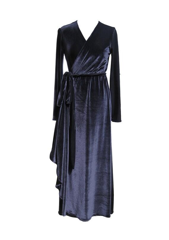 Black Velvet Maxi Wrap Dress Plus Size Dress Black Dress  f0ef6170e6aa