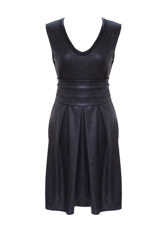 Black Leather Dress, Plus Size Dress, Faux Leather, Pleated Dress, Women  Dress, Black Party Dress, Designers Dress