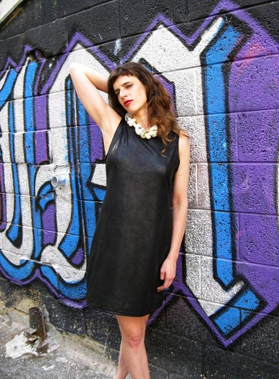 Black Leather Shift Dress, Faux Leather, Plus Size Dress, Party Dress, 60s  Dress, Designers Dress