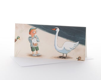 """Greetings card: """"Swan peril"""" Size DL (100x210mm) with envelope"""