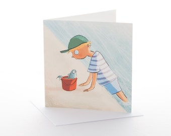 """Greetings card: """"The Boy and the Bucket"""" Size 148x148mm with envelope"""