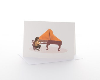 """Greetings card: """"Jazz piano"""" Size A6 with envelope"""