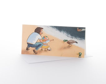 """Greetings card: """"Feeding the ducks"""" Size DL (100 x 210mm) with envelope"""